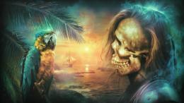 Download Skull and parrot wallpaper in 3DAbstract wallpapers with 1657