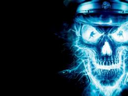 Download Neon police skull wallpaper in 3DAbstract wallpapers with 1870