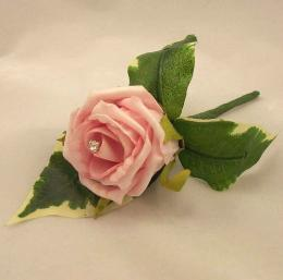 Groom\'s Buttonholes Pink Rose Diamante Buttonhole Silk Wedding 517