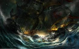 Rain waves storm ships pirates battles artwork wallpaper | 2560x1600 1998