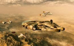 wars, millenium falcon, space ship, desert planet, fighters wallpaper 1912