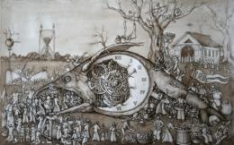 steampunk mech tech mood time death art clock wallpaper background 1065