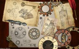 steampunk mechanical maps clock watch gears wallpaper background 1483
