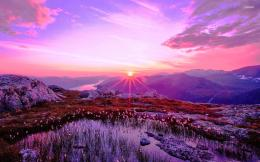 Purple sunrise over the mountains wallpaper 1323