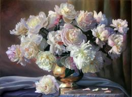 Wallpaper painting, still life, zbigniew kopania, flowers, peonies 679