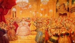 In this painting, Cinderella has just arrived to the ballEveryone is 1600
