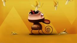Cute cartoon monkey eating banana wallpaper 1749
