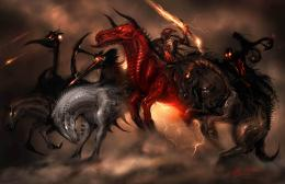 Horsemen of the Apocalypse dark horror religion fantasy art horse 838