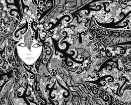 1280x1024 Face Psychedelic Black & White desktop PC and Mac wallpaper 1832