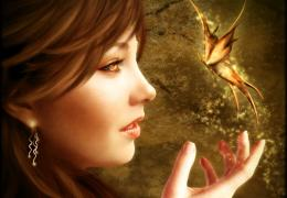 Magic Butterflies Face Fantasy Girls butterfly magical bokeh wallpaper 556