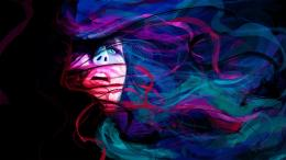 abstract girl face eyes lines psychedelic women females colors mood 1668