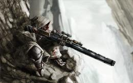 anime fantasy sniper warrior soldier weapons guns rifle scope 1349