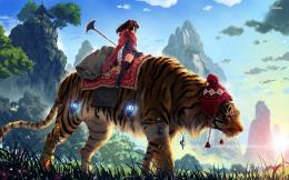 Girl riding a giant tiger wallpaper860687 1063