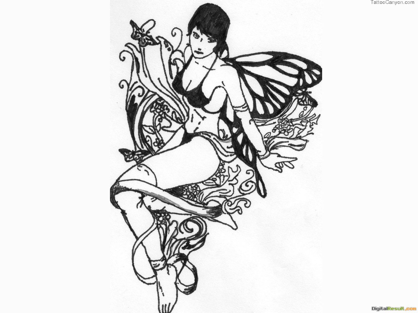 Fairy Tattoo Design Black And White Jpg Name 1327840849art Fairy 1392