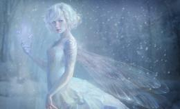 fantasy girl wallpaper, digital art, wings, snow, fairy, butterfly 1318