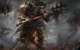 Diablo barbarian armor blood horns spikes ax undead warriors wallpaper 419