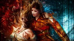 women females girls warrior weapons blood warrior wallpaper background 967