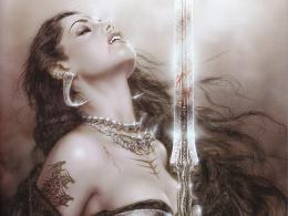 Luis Royo fantasy art warrior blood dark women sword vampire wallpaper 601