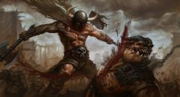 Battle Warrior Monster Battle axes Blood Fantasy wallpaper background 1523