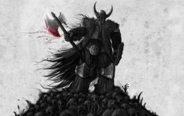 fantasy warrior viking weapons axe blood dark skull wallpaper 1357