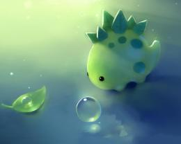 Download Cute green dinosaur wallpaper in CartoonAnime wallpapers 1752