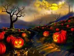 Pumpkin Field Wallpaper Halloween scary horror nights scarecrow 150