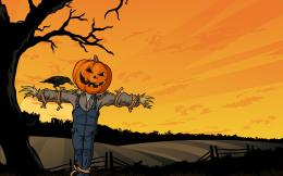 Crow Tree Field Pumpkin Creepy Scarecrow Halloween Horror Wallpaper 1859