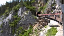 White Pass & Yukon Railroad: entering Tunnel Mountain via the wood 1614