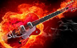 Rockabilly Guitar on Fire Red Smoke Flames HD Music Desktop Wallpaper 1565
