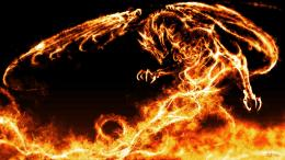 flames, wings, black, red, dragons, fire, fantasy art :: Wallpapers 1489