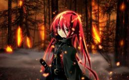 In Flames Red Fire Sword Anime Girl Katana wallpaper #501820 1135