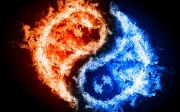 Blue and Red Fire Wallpaper HD wallpaper background 1374