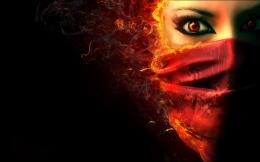 Wallpapers :: women, flames, eyes, red, fire, faces, burn 671