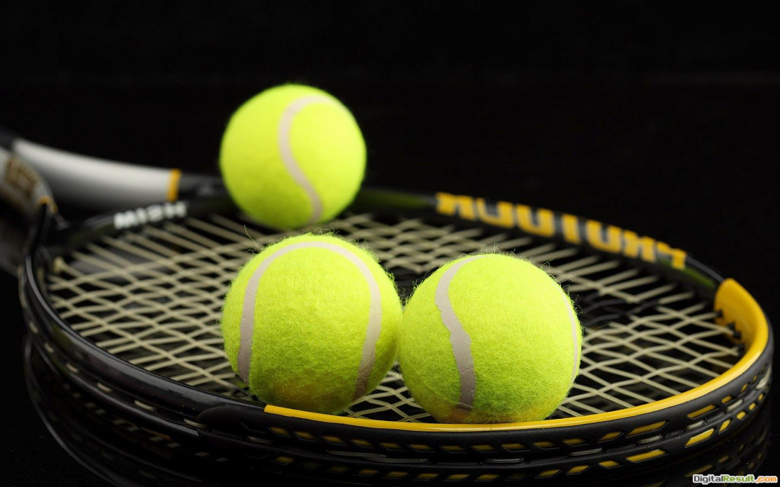 sports wallpaper with a picture of a racket with three tennis balls 844