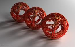 3d three red balls spheres hd widescreen wallpaper3d backgrounds 377