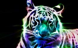 Fractal tiger neon feline art animal cats 1680x1050 1261