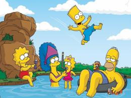 Simpsons Family Playing On Swimming Pool Hd Wallpaper | Wallpaper List 1593