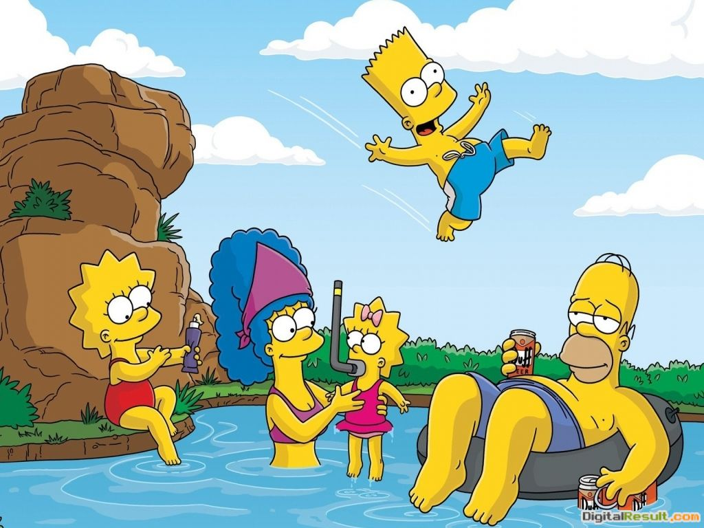 Simpsons Family Playing On Swimming Pool Hd Wallpaper   Wallpaper List 1593