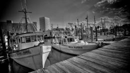 Fishing Boats HDR BW 1920 x1080 Galveston 1408