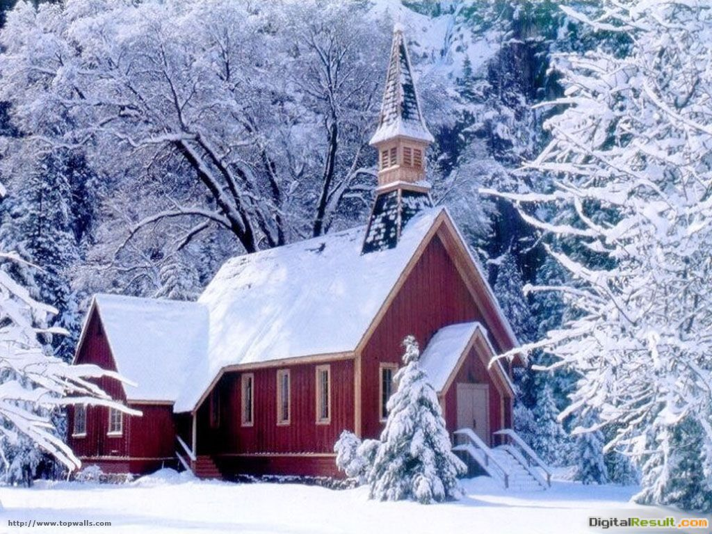 Church in winter snow nature HD Wallpaper 1643