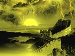 Man MadeGreat Wall Of China Sunset China Wall Storm Lightning Cgi 1633