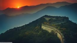 The great wall of china sunset hd 1366x768 wallpaper 685