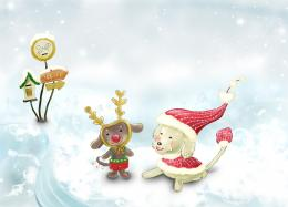 Lovely toys of children on white snow of winter for christmas hd 978