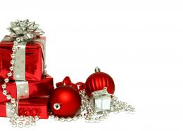 Christmas wallpapers Red Christmas decorations and gifts on Christmas 1606