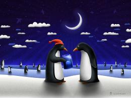 VectorChristmas Gift PenguinsFree Desktop Wallpaper s 1203