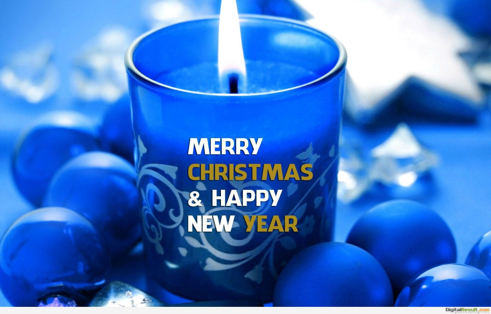 merry christmas happy new year candle light blue balls bokeh 1920x1200 1618