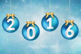 2016 happy new year decor ball vector on gradient blue 437