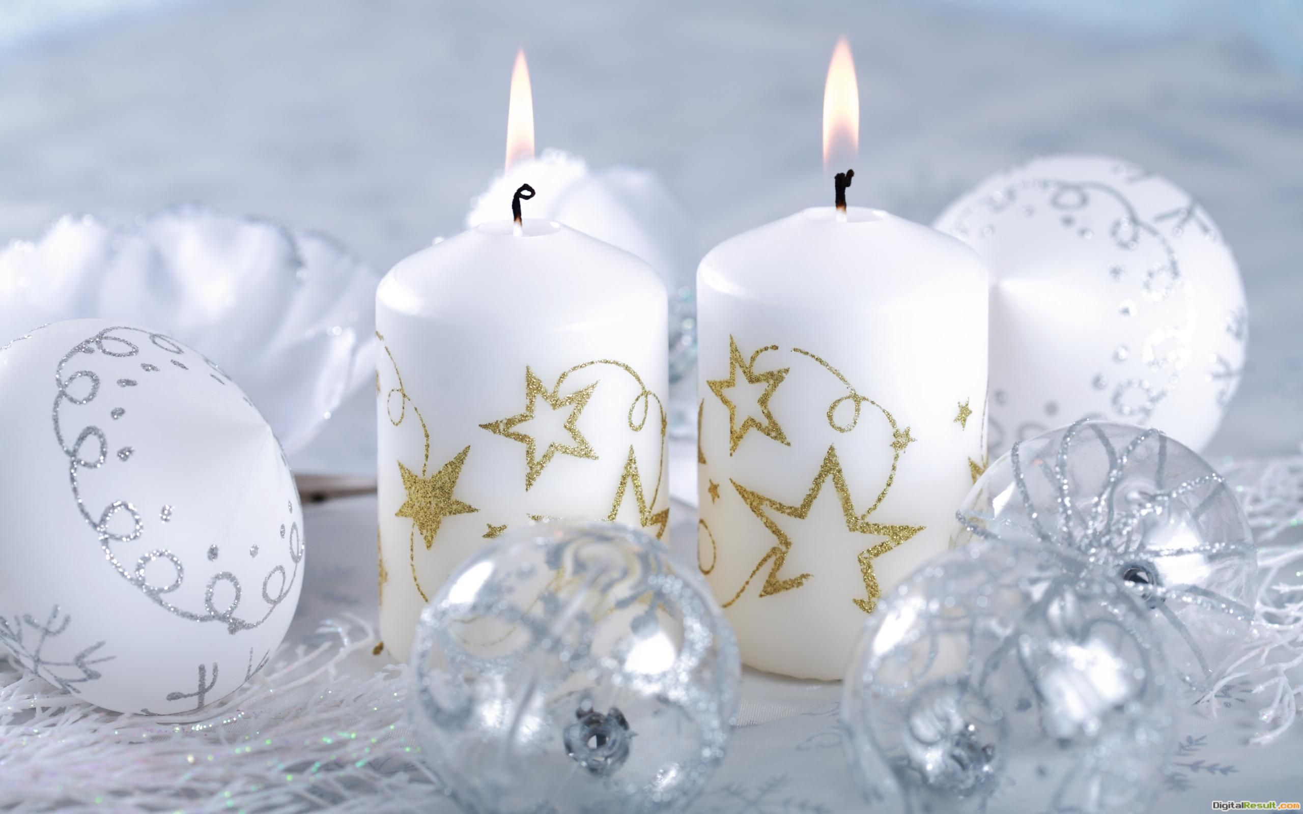 Christmas light white candles new year ball wallpaper 330