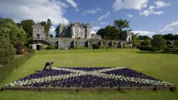 Fantastic Castle With Scottish Flag In Flowers High quality wallpaper 1795
