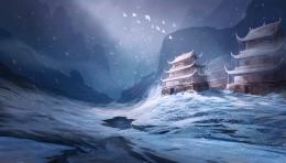 Fantastic world Fantasy castle asiajn winter wallpaper background 1150
